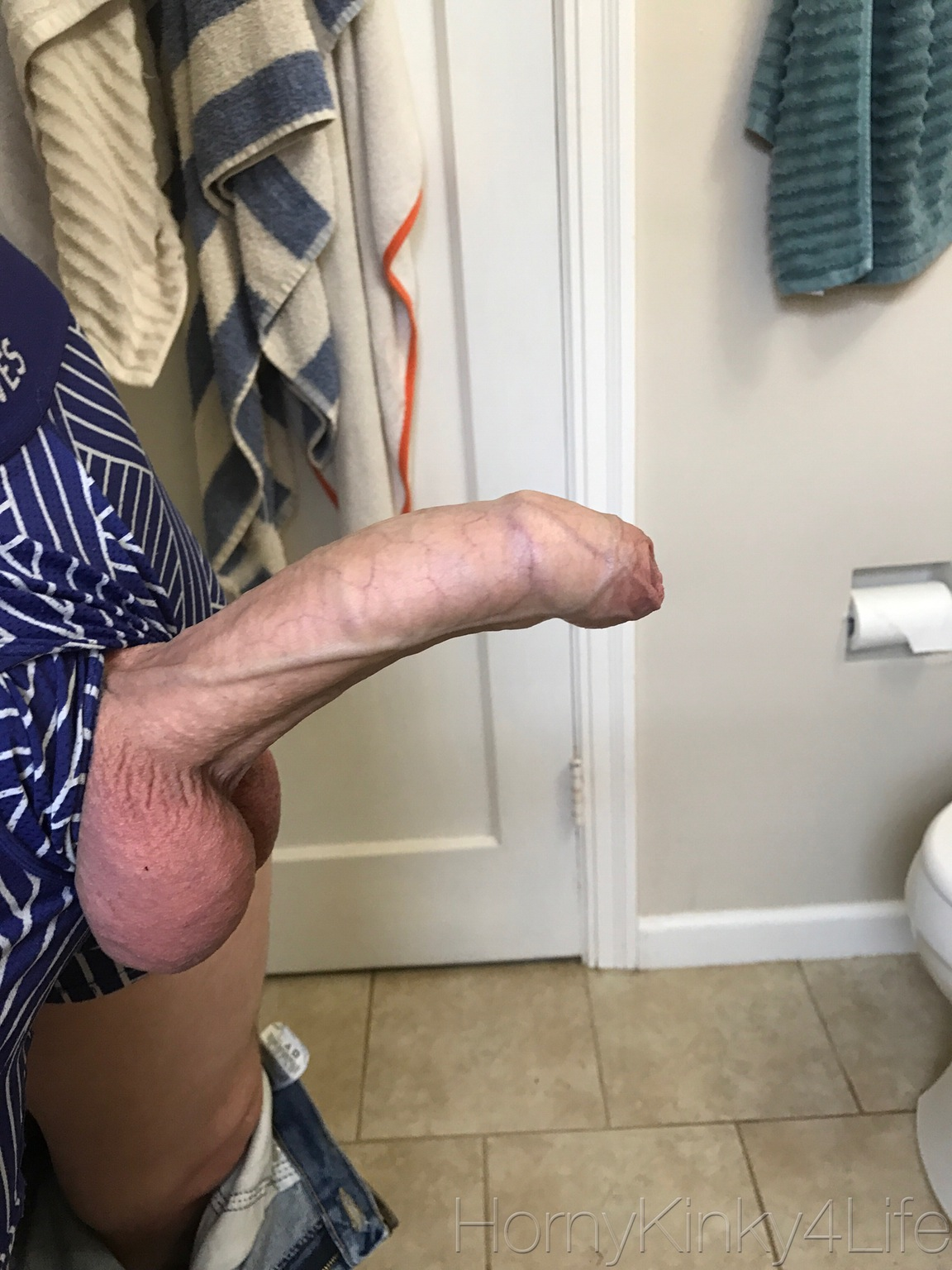 Cock with hard on pants