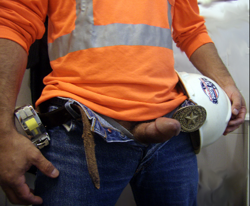 Construction worker shows dick
