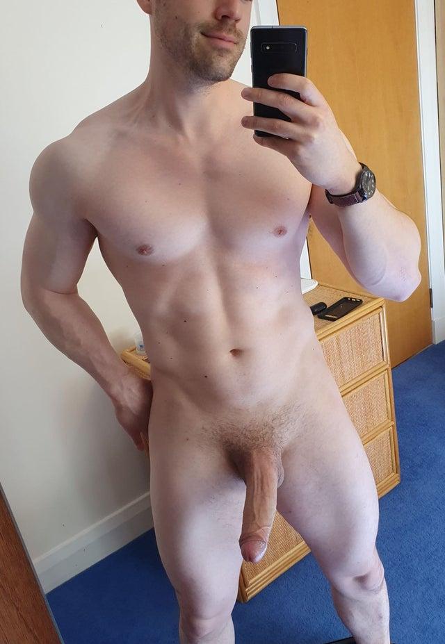 Full muscle body selfie